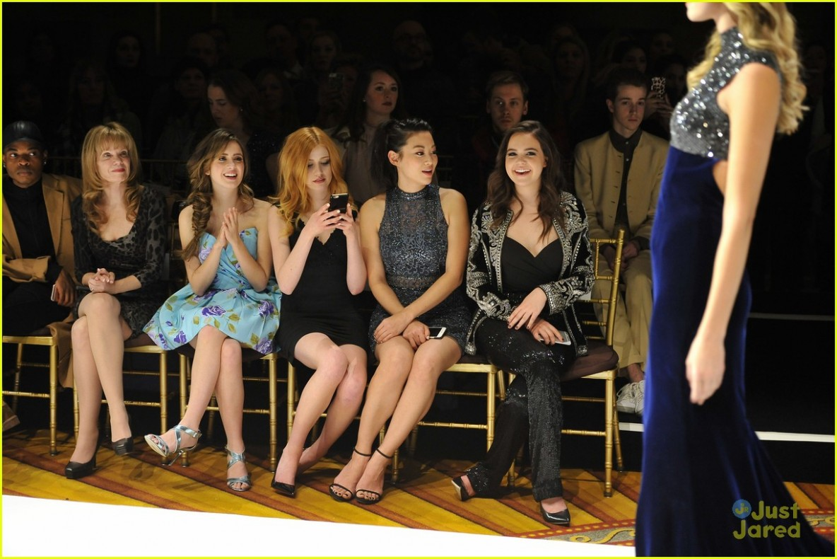 1bdf87ca3db Laura Marano Watches Sadie Robertson Walk The Runway at Sherri Hill s NYFW  Show. Laura Marano looks so ready for spring in a bright blue floral dress  at the ...